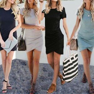 Woman-Sexy-Casual-Dresses-O-Neck-Short-Sleeve-Knee-Length-Female-Women-Dres-IS