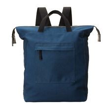 Ally Capellino Navy Canvas Rucksack With Black Leather Trim, Striped Lining
