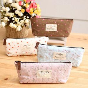 Canvas-Flower-Floral-Pencil-Pen-Case-Cosmetic-Makeup-Bag-Storage-Pouch-Purse-New