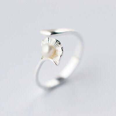 Damen Ring Ginkgoblatt Süßwasserperle Echt Silber 925 Größenverstellbar