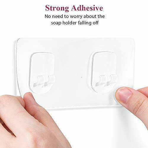 Soap Dish with Hooks SUS304 Stainless Steel Adhesive for Shower Bathroom Kitchen