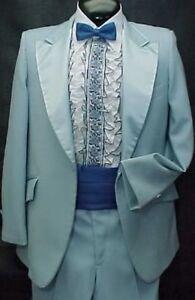 Sky Baby Blue Mens Tuxedo Jacket Or 4pc Tux Retro After 6