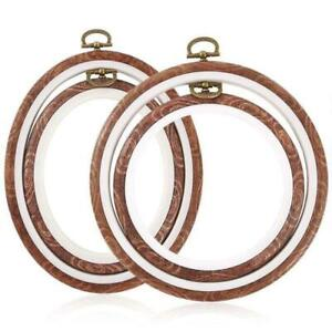 X-Small Premium Quality Circle Embroidery Hoop with Imitated Wood Display Frame Look,