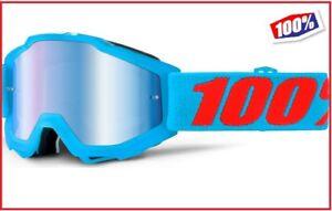 55789cfb52a9e Détails sur Masque Moto Cross Lunettes 100% Accuri Acidulées Lentille  Miroir Bleu + Clear