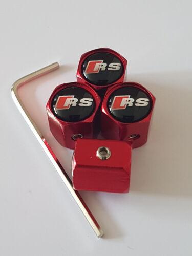 AUDI RS rosso anti furto Polvere Tappi Valvola limitata tutti i modelli RETAIL PACCO REGALO 5 6