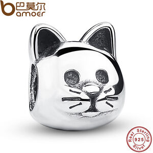 Pretty-Authentic-S925-Sterling-Silver-Cat-Charms-Fit-European-Bracelets-Bangles