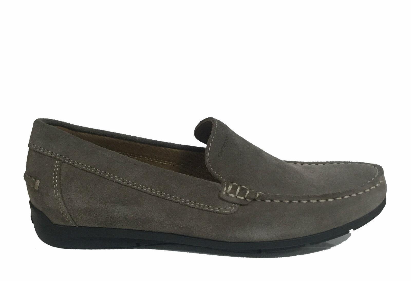 GEOX shoes men, MOCASSINI IN MORBIDO CAMOSCIO TAUPE, LINEA SIMON U32Q3A