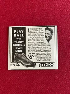 "1930's, Lou Gehrig, ""ATHCO"" Baseball Shoe Ad (Scarce / Vintage) Yankees"