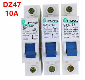 Mini Circuit breaker C typ 1P DZ47-10A DIN-Rail 230/400V~ 50HZ/60HZe