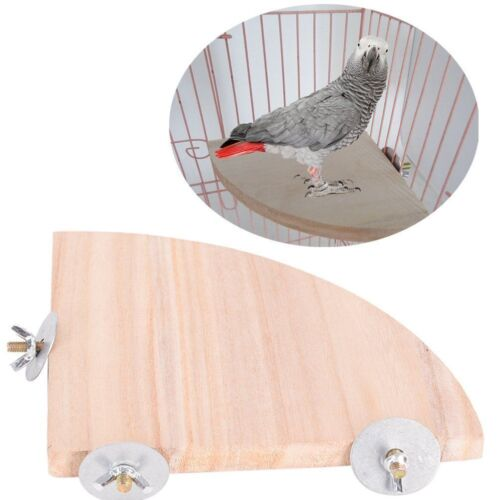 Parrot Bird Cage Perches Round Coin Fan Wooden Stand Corner Toys