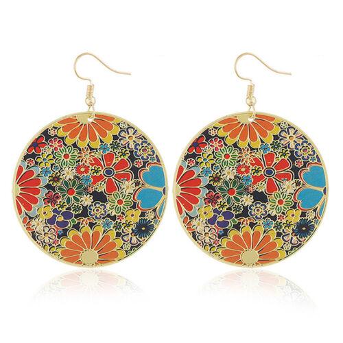 Damen Vintage Multicolor Ohrringe böhmischen runden ethnischen Boho Ohrstecke Nw
