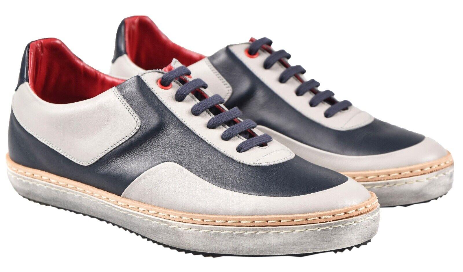 NEW KITON scarpe da ginnastica scarpe 100% LEATHER SZ 7.5 US 40.5 EU 19O139
