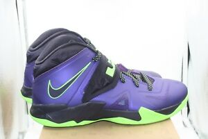 more photos 2406c 6c5d4 Details about Nike Lebron Soldier 7 Sz 11 Purple Black Lime Green Lebron  James LA Lakers TMNT
