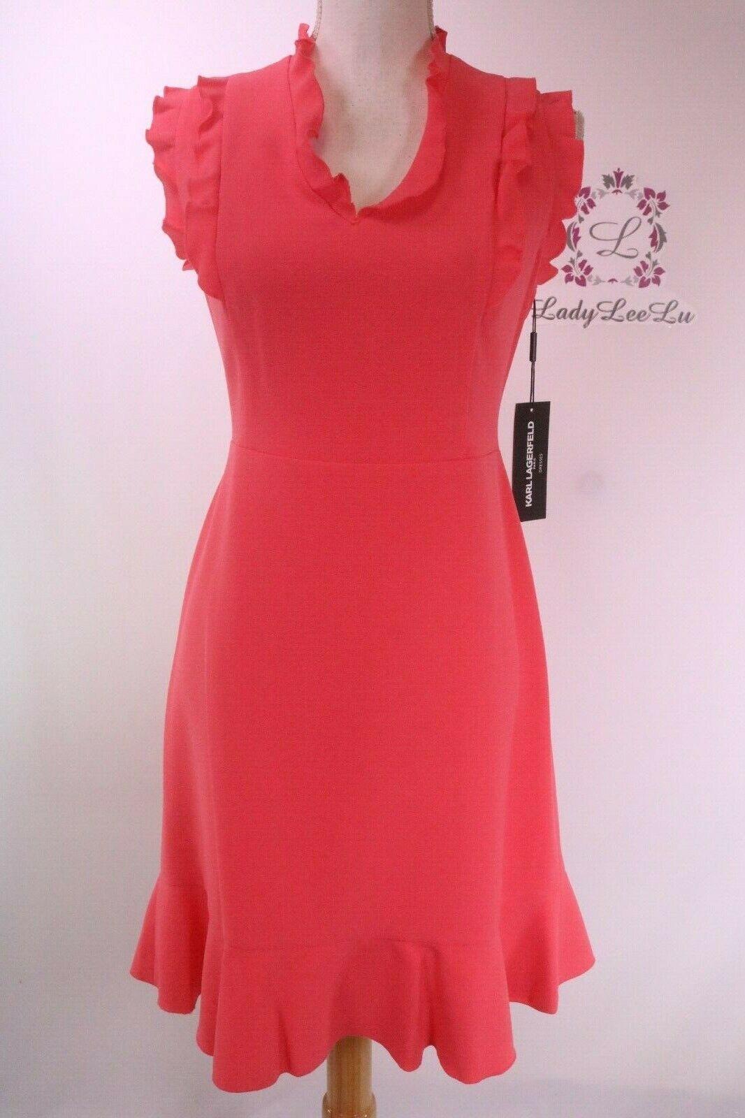 Karl Lagerfeld Cap Sleeve Crepe Dress With Ruffled Trim LD8E12U9 Size 8 New NWT
