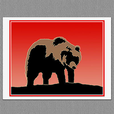 6 Grizzly Bear Sunset Colorful Graphics Blank Art Note Greeting Cards