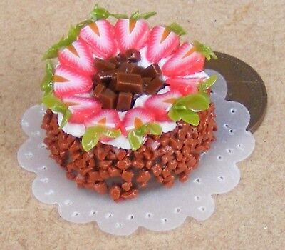 1:12 Scale Round Cake With Chocolate Icing Tumdee Dolls House Miniature NC47