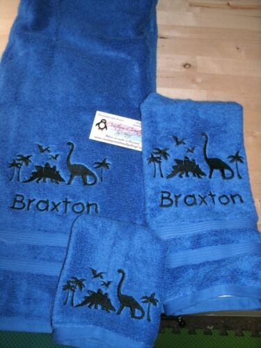 Dinosaur Scene Dino Personalized 3 Piece Bath Towel Set  Any Color Dinosaurs