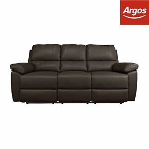 Details About Argos Home Toby 3 Seat Faux Leather Recliner Sofa Chocolate