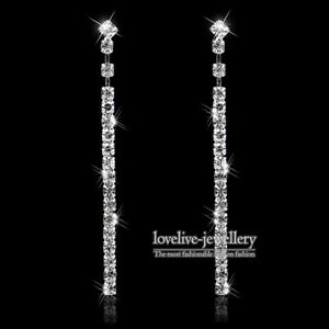 New Silver Diamante Crystal Rhinestone Long Strip Dangle Earrings