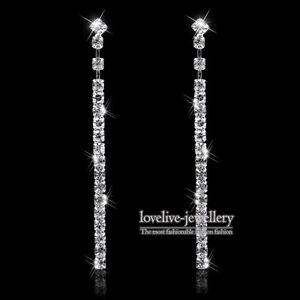 Image Is Loading New Silver Diamante Crystal Rhinestone Long Strip Dangle