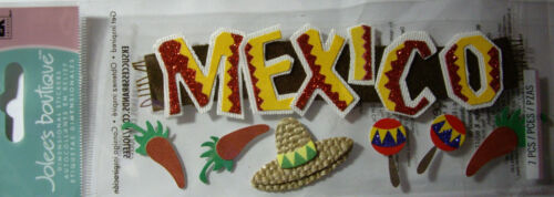 NEW 7 pc MEXICO Sombrero Chili Pepper Maracas Chilies 3D Title Stickers JOLEE/'S