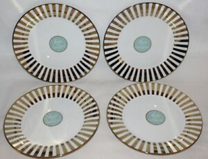 Ciroa-Luxe-Gold-Stripe-Metallic-Accent-Porcelain-Salad-Plates-Set-of-Four-New
