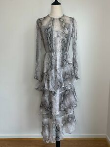 ZIMMERMANN-Size-1-8-10AU-BNWT-Gorgeous-Snakeskin-Silk-Tiered-Maxi-Dress