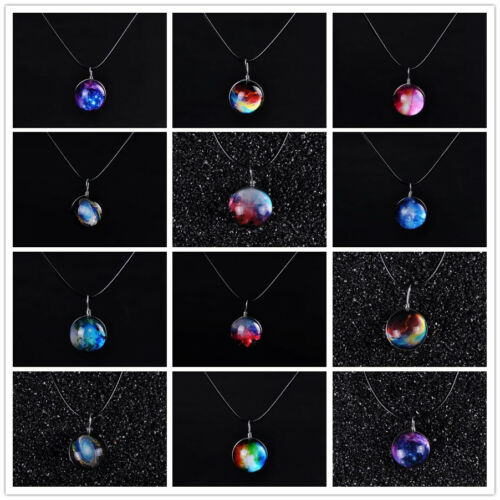 Hot Dreamy Crystal Ball Star Short Glass Galaxy Pattern Pendant Necklace Jewelry