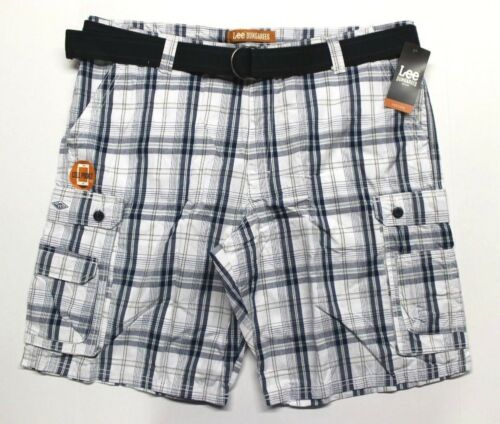 Blue Conner Plaid Men/'s Big /& Tall Lee Belted Cargo Shorts 2883352