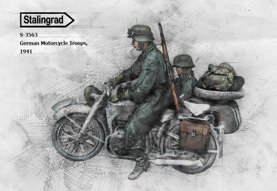 1 35 scale model kit WW2 German Motorcycle Troops (2 figs only - NO Bike.)