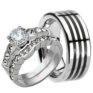 His /& Hers 3 pcs Womens Stainless Steel /& Mens TITANIUM Wedding Bridal Rings Set