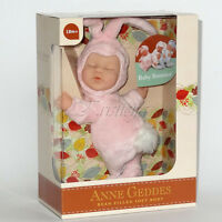 ANNE GEDDES DOLLS 'Bean Filled' collection NEW in Box BABY PINK BUNNY Doll 9''