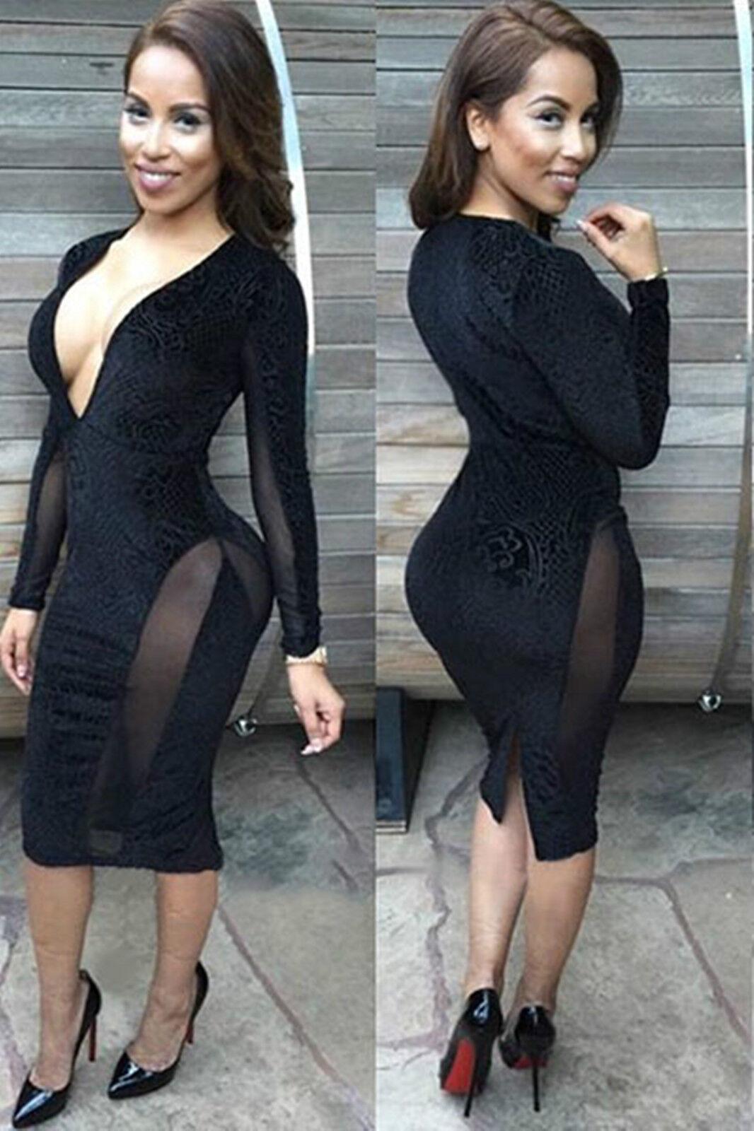 Mini Abito cono aperto nudo trasparente aderente Sheer Mesh Bodycon Club Dress