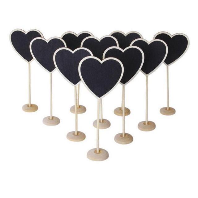 Wooden Heart Blackboard Chalkboard Wedding Supplies Table Number Venue Decor
