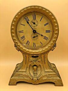 Antique-Seth-Thomas-034-Long-Alarm-034-Mantel-Clock