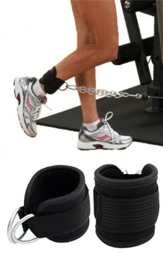 EVO Double D Ring Weightlifting Gym Straps Neoprene Ankle Cuff Cable Attachment