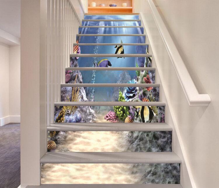3D Meer, Fisch 244 Stair Risers Dekoration Fototapete Vinyl Aufkleber Tapete DE
