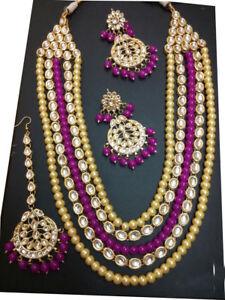 Bollywood-Bridal-Wedding-Jewelry-Kundan-Beads-Necklace-Maang-Tikka-Earring-set