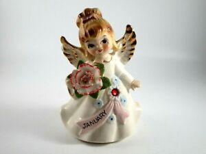 Vintage Lefton Ceramic January Birthday Angel Red Stone Figurine #6224 Repaired