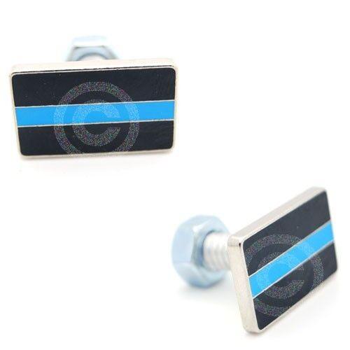 "Custom License Plate Frame Tag Bolts /""Blue Line/"" 2 3D Cast Aluminum"