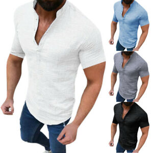 Mens-Slim-Fit-Short-Sleeve-T-Shirt-Muscle-Casual-Blouse-Tops-Henley-Shirts