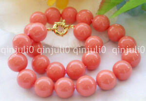 Genuine-Natural-8mm-Pink-South-Sea-Coral-Round-Beads-Necklace-18-039-039-JN2301