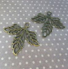 Pack of 15 Antique Bronze Leaf Filigree
