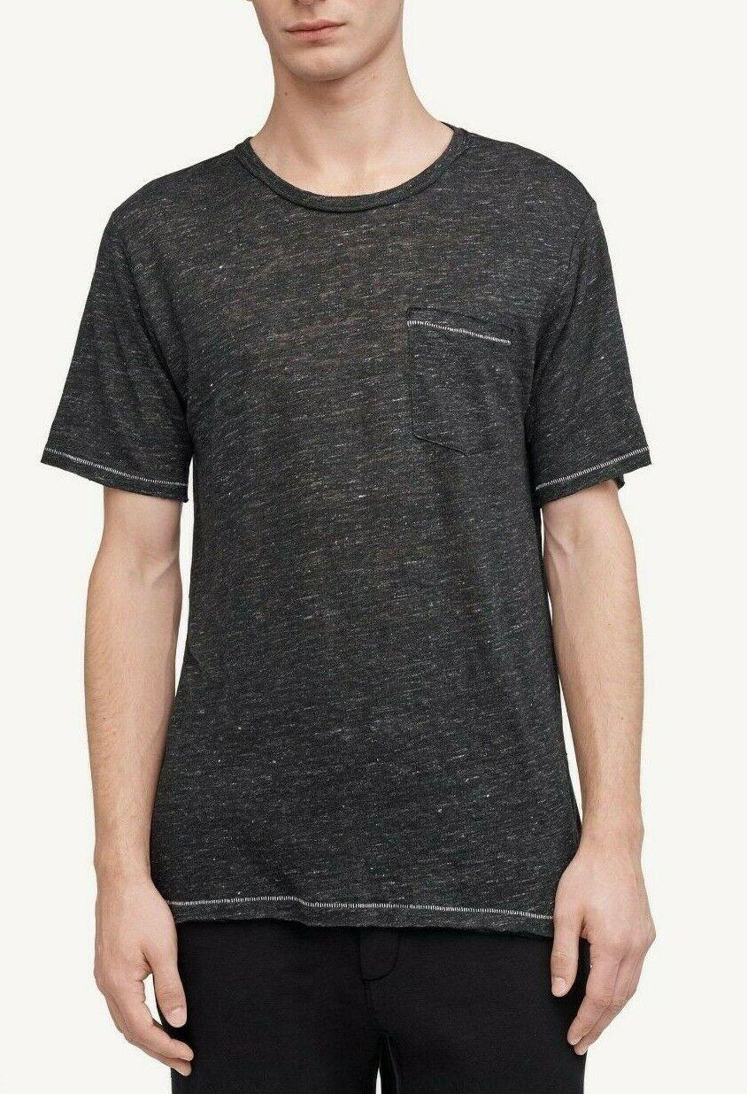 Rag & Bone Men's Black Heather Owen Linen Crew-Neck Short Sleeve Pocket Shirt