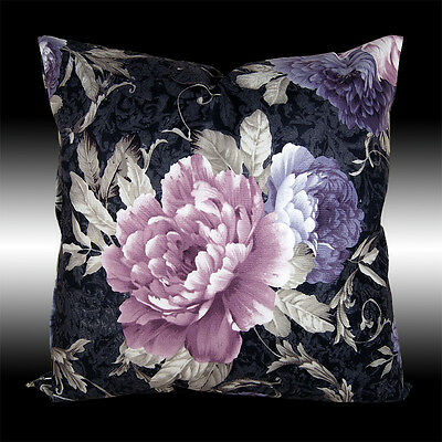 RARE PURPLE PEONY BLACK BOTH SIDES VELVET THROW PILLOW CASE CUSHION COVER 17.5
