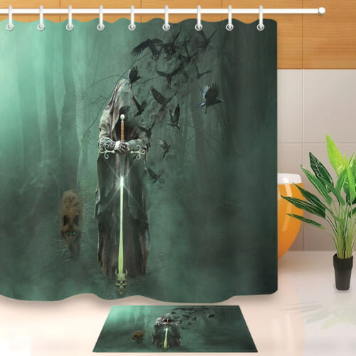 Wizard Forest Wolf Waterproof Fabric Polyester Bath Shower Curtain /&Hooks 60//72/""