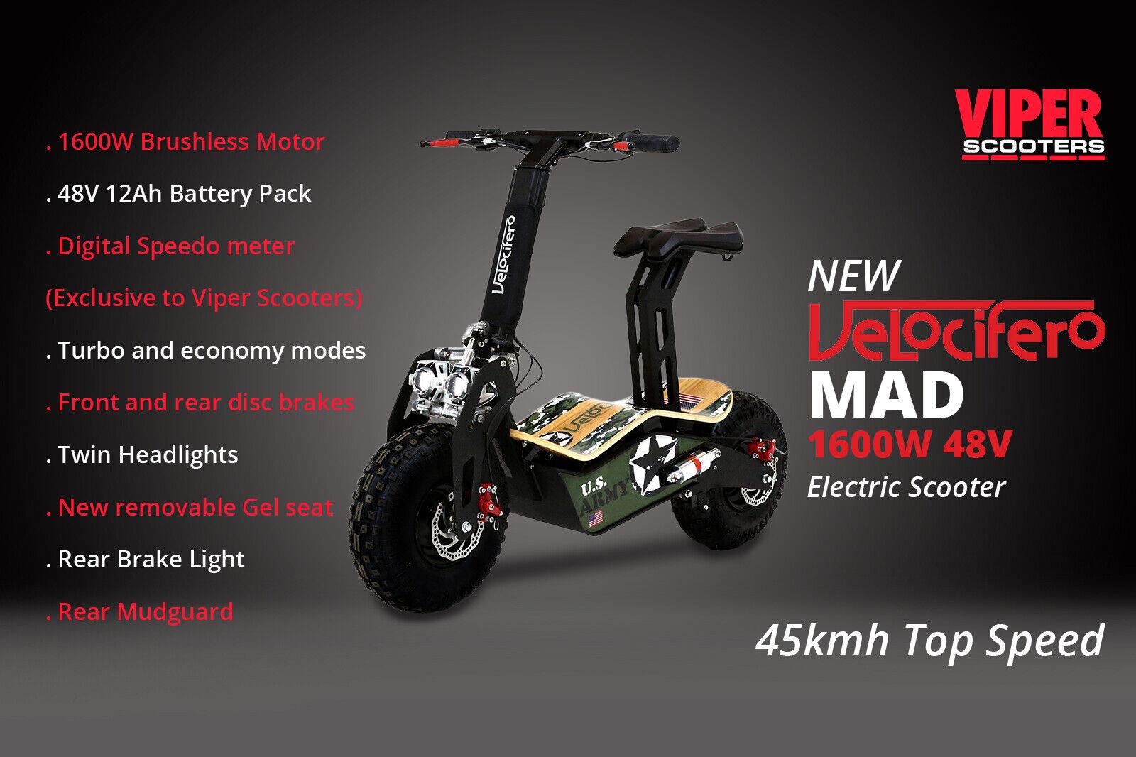 Nuevo Modelo 2019, Velocifero Mad 1600W 48V scooter eléctrico, ejército vs