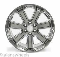 "Cadillac Escalade Ext Esv Gunmetal Chrome Inserts 22"" Wheels Rims Lugs 5660"
