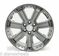 "Cadillac Escalade Ext Esv Gunmetal Chrome Inserts 22"" Wheels Rims Lugs 5660"
