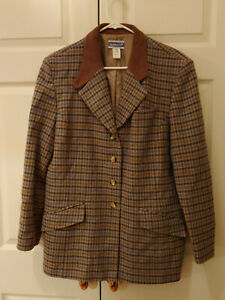 Women-Vintage-Pendleton-Brown-Wool-Houndstooth-Blazer-Riding-Jacket-Size-16